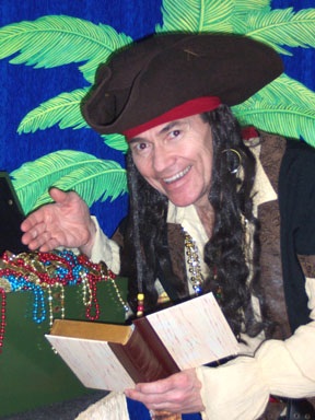 Magical Pirate Captain Bill Encouraging Children to Read